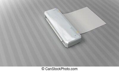 Paper shredder with matte.