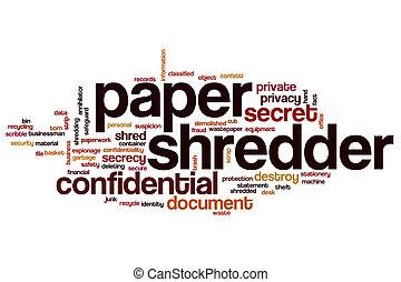 Paper shredder word cloud