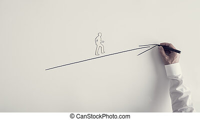 Paper silhouette cutout of a man and male hand drawing upward arrow
