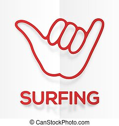 Paper silhouette red surfers shaka symbol with realistic...