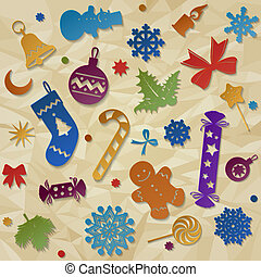 Christmas decorations - Paper silhouettes of colorful...
