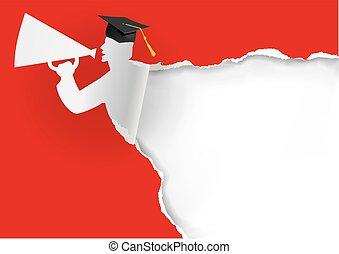 Paper silhouettte of graduate