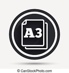 Paper size A3 standard icon. Document symbol. - Paper size...