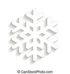 Paper snowflake with long shadow design isolated on white background. Winter and Xmas theme. Vector illustration