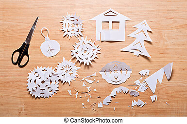 Paper snowflakes and other decoration