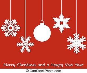 Paper snowflakes Christmas tree and Christmas ball hanging...