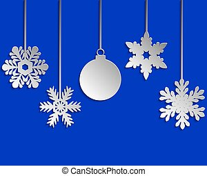 Paper snowflakes Christmas tree and Christmas ball