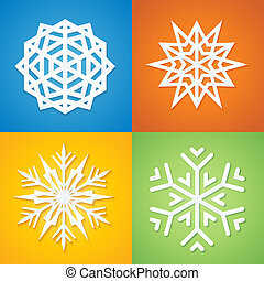 Paper Snowflakes on Colorful Background.