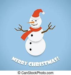 Paper snowman Christmas card design vector template.