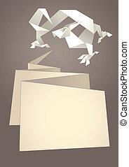 Paper speech bubble, dragon origami