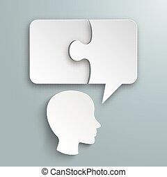 Paper Speech Bubble Puzzle Human Head