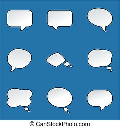 Paper Speech Bubble with round corners on bright background