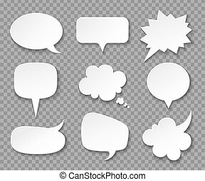 Paper speech bubbles. White blank thought balloons, shouting box. Vintage speech and thinking expression vector bubble set