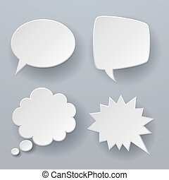 Paper speech bubbles. White origami 3d retro clouds thought chat or dialogue text message balloon vector concept