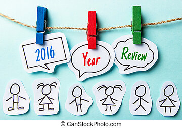 2016 Year Review - Paper speech bubbles with text 2016 Year ...