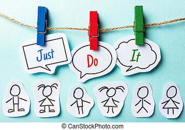 Just Do It - Paper speech bubbles with text Just Do It ...