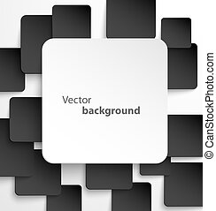 Paper square banner with drop shadows on black background. Vector illustration