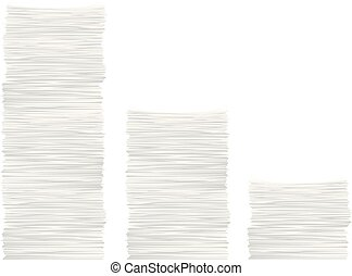 paper stack set - illustration of three different high paper...