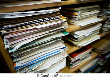 Paper Stacks - Stacks of old music notes - Shallow depth of...