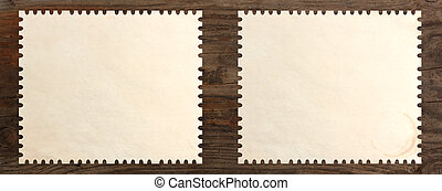 paper stamp blank set old wooden table background