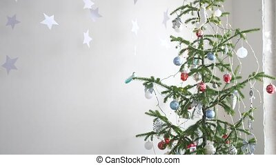 Paper stars hanging for background of a Christmas interior...
