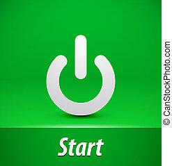 Paper start button on green background