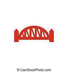 paper sticker Australian bridge on white background