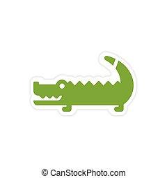 paper sticker Australian crocodile on white background