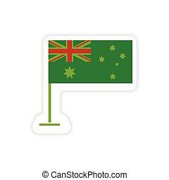 paper sticker Australian flag on white background
