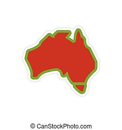 paper sticker Australian map on white background