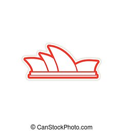 paper sticker Australian Sydney on white background