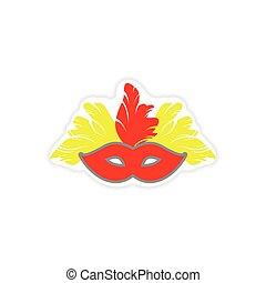 paper sticker Brazilian carnival mask on white background