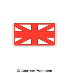 paper sticker British flag on white background