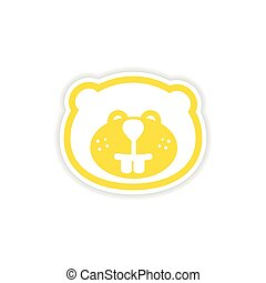 paper sticker Canadian beaver on white background