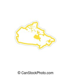 paper sticker Canadian map on white background