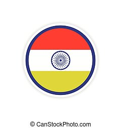 paper sticker Indian flag on white background