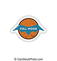 paper sticker on background of full moon bat