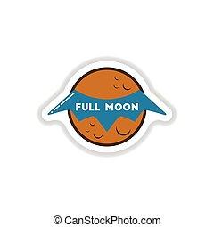 paper sticker on background of full moon bat