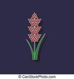 paper sticker on background of gladiolus - paper sticker on...