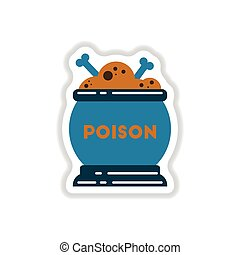paper sticker on background of potion cauldron