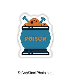 paper sticker on background of potion cauldron