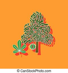 paper sticker on background of tree Castanea