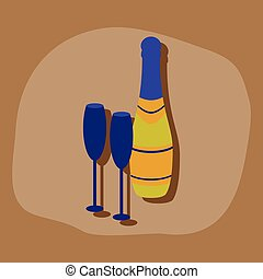 paper sticker on stylish background Champagne bottle and glasses