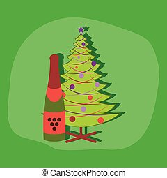 paper sticker on stylish background Christmas tree champagne