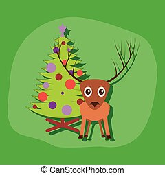 paper sticker on stylish background Christmas tree deer