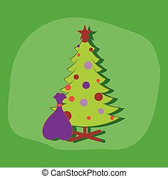 paper sticker on stylish background Christmas Tree gifts