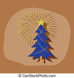 paper sticker on stylish background Christmas tree