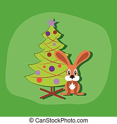 paper sticker on stylish background Christmas tree Rabbit