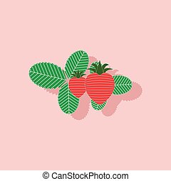 paper sticker on stylish background plant Fragaria