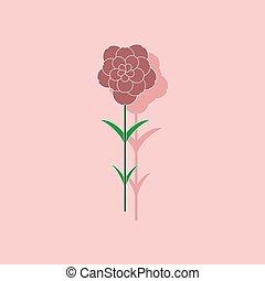 paper sticker on stylish background plant Dianthus